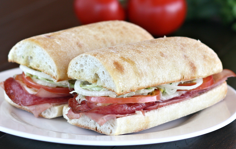 Assorted Hot Hoagie on Ciabatta bread with ham, smoked ham and salami