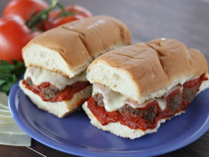 Whole meatball hoagie on white bread with our very own red sauce recipe and melted mozzarella cheese