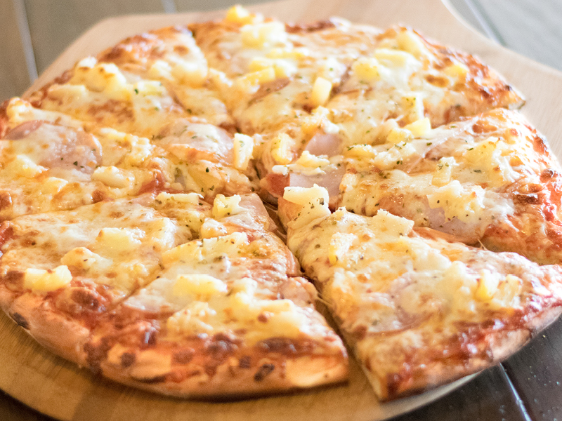 Hawaiian Pizza made with Canadian Bacon and Pineapple