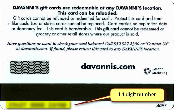 Gift Card Balance Davanni S Pizza Hot Hoagies