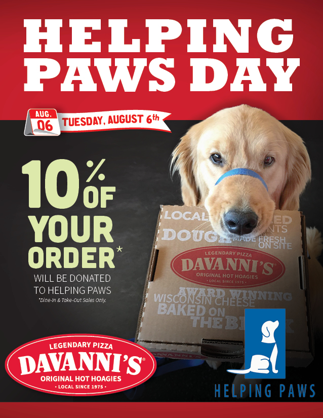Helping Paws Day 2019 Davanni S Pizza Hot Hoagies
