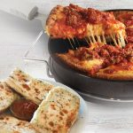 Pepperoni and Sausage Deep Dish Pizza and a four piece garlic cheese bread with red sauce