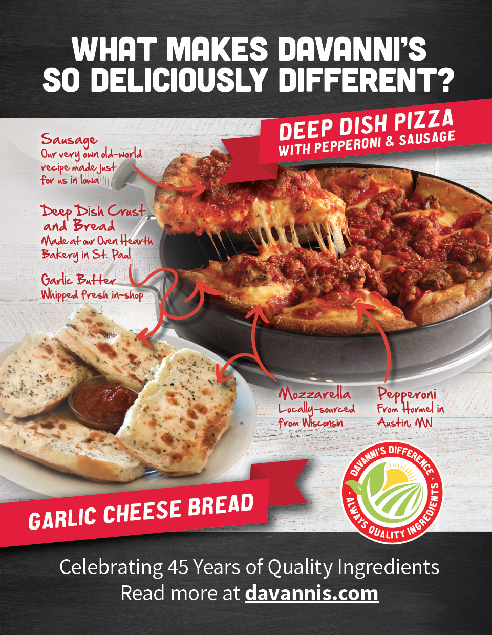 What makes Davanni's so deliciously different? Davanni's Deep Dish Pizza and Garlic Cheese Bread are made with locally sourced ingredients.