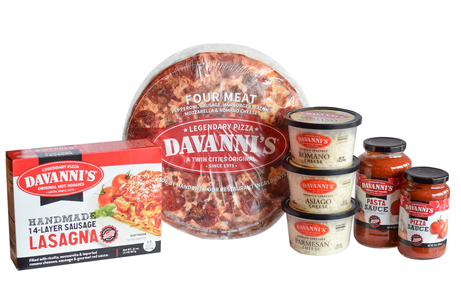 Davanni's frozen pizza and lasagna, shredded cheeses, pizza sauce and pasta sauce. Same restaurant ingredients!